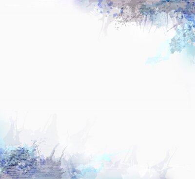 Szare i niebieskie plamy akwarela na rogach. Grunge elementy projektu do abstrakcyjnego tła artystycznego.