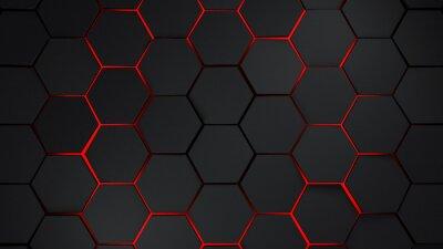 Naklejka Szary i czerwony sześciokąt nowoczesnych ilustracji tła