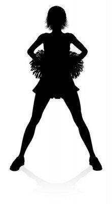 Szczegółowa sylwetka cheerleaderek z pomponami