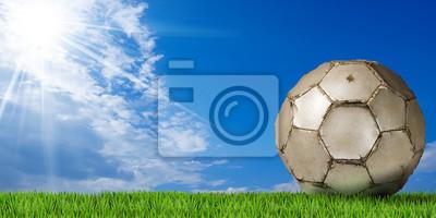 Szczegółowo kuli białej piłki nożnej (piłka nożna) z zielona trawa i błękitne niebo z chmurami i promieni słonecznych