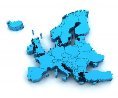 Naklejka Szczegóły mapa Europy z granicami państwowymi