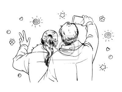 Szczęśliwa para podejmowania autoportretów. ilustracja Ink.