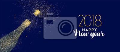 Szczęśliwego Nowego Roku 2018 butelka szampana złota brokat