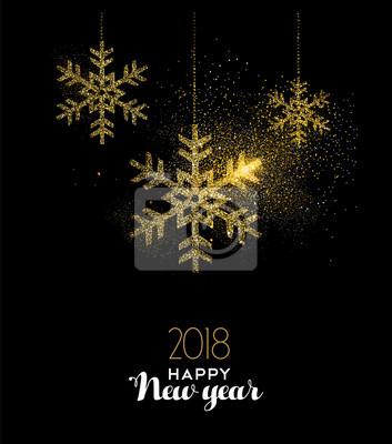 Szczęśliwego Nowego Roku 2018 złota brokat śniegu dekoracji
