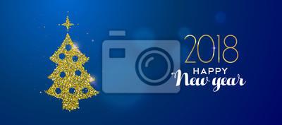 Szczęśliwego nowego roku 2018 złota brokatu sosnowego drzewa karty
