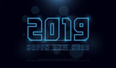 Szczęśliwego nowego roku 2019 technologii neonowej linii uderzenia chrzcielnica i abecadło z bokeh na abstrakcjonistycznym tle. 2019 koncepcja cyfrowa. ilustracji wektorowych
