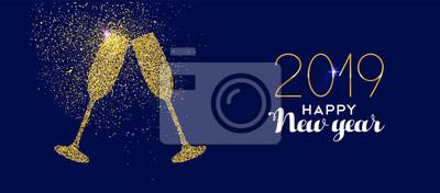 Szczęśliwego Nowego Roku 2019 złoty brokat toast