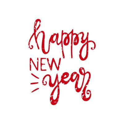 Szczęśliwego nowego roku handdrawn Boże Narodzenie lettering