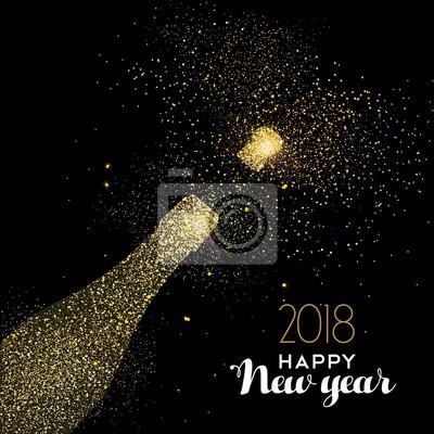 Szczęśliwego Nowego Roku strona pić złotą brokat brokat