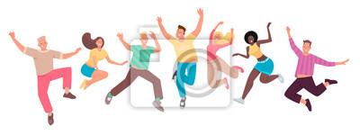 Naklejka Szczęśliwi ludzie skaczą. Zestaw zabawnych postaci. Młodość. Pojęcie szczęścia, radości i sukcesu