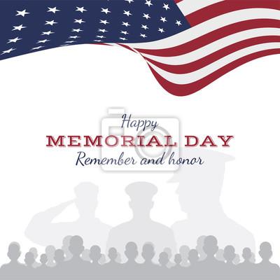 Naklejka Szczęśliwy dzień pamięci. Kartkę z życzeniami z flagą i żołnierzem na tle. Narodowe święto amerykańskie.