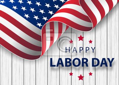 Naklejka Szczęśliwy wakacje święto transparent z tłem obrysu pędzla w flagi narodowej Stanów Zjednoczonych