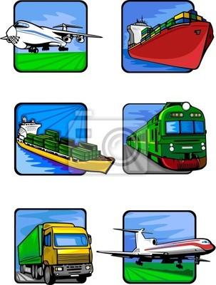 Sześć zdjęć pojazdów. Transport mashines.