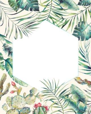 Naklejka Sześciokąt ramek tropikalnych roślin. Ręcznie rysowane karty lato z kaktusa, egzotyczne gałęzie, liści bananowca, palmy. Powitanie lub szablon logo.