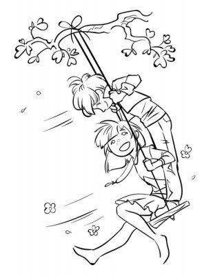 Szkic mały chłopiec i dziewczynka na huśtawce. Cartoon ilustracji w kolorze czarnym na białym tle. Szczęśliwego dzieciństwa.