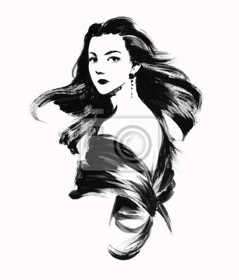 Szkic młodej kobiety z włosami falujące na wietrze. Tusz farba ilustracji strony.