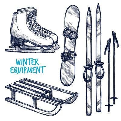 Naklejka Szkic Sporty zimowe Obiekty