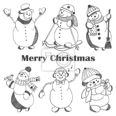 Szkicowanie ręcznie rysowane styl słodkie bałwany. Boże Narodzenie ilustracji wektorowych.