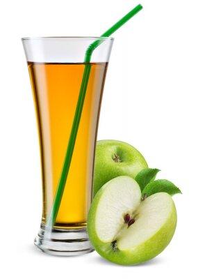 Naklejka Szklanka soku jabłkowego z owocami na białym tle.