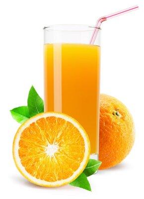 Naklejka Szklanka soku pomarańczowego na białym tle