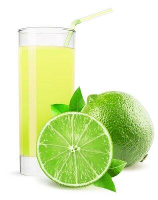 Naklejka Szklanka soku z limonki wyizolowanych na białym tle
