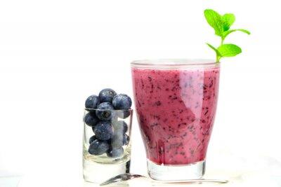 Naklejka Szklanka świeżego Blueberry smoothie