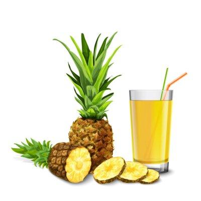 Naklejka Szkło sok ananasowy