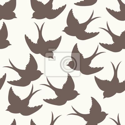 Naklejka Szkoła stary wzór z ptakami i liter