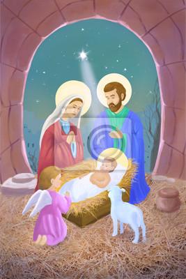 Szopka Boże Narodzenie / pocztówki / ilustracja malarstwo
