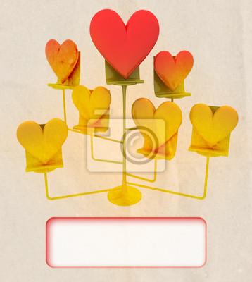 sztalugi z Złote i czerwone serca szablonu karty