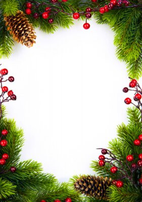 sztuka christmas ramki z jodły i holly jagód na białym papierze ba