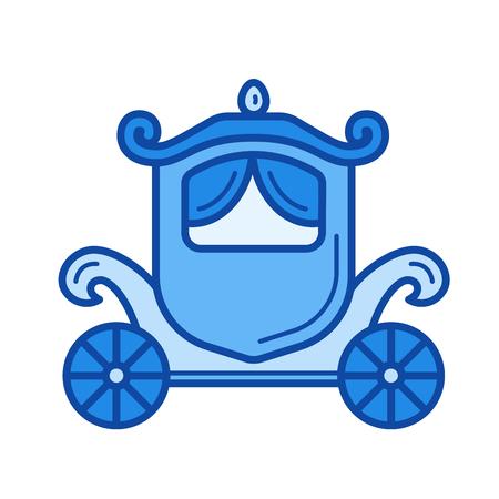 Sztuka ikona wektor przewóz linia na białym tle. Vintage przewóz linii ikona infografika, strony internetowej lub aplikacji. Niebieska ikona zaprojektowana na siatce.