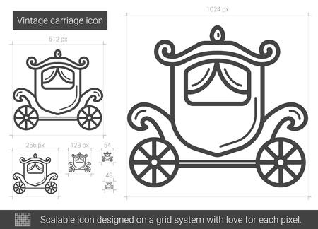 Sztuka ikona wektor przewóz linia na białym tle. Vintage przewóz linii ikona infografika, strony internetowej lub aplikacji. Skalowalna ikona zaprojektowana w systemie gridowym.