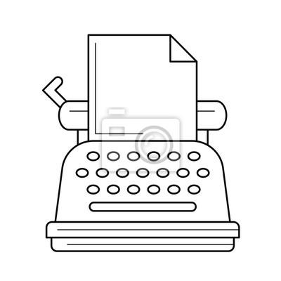 Sztuka maszyna do pisania wektor ikona linia na białym tle. Vintage ikona linii do pisania infografikę, strony internetowej lub aplikacji. Ikona zaprojektowana w systemie gridowym.