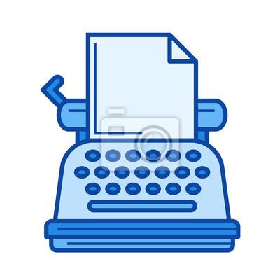 Sztuka maszyna do pisania wektor ikona linia na białym tle. Vintage ikona linii do pisania infografikę, strony internetowej lub aplikacji. Niebieska ikona zaprojektowana na siatce.