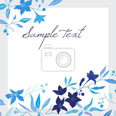 sztuka, tło, niebieski, kwiatowy, Virginia creeper, biały