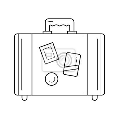 Sztuka wektor ikona linia walizki na białym tle. Walizka z bagażem na ikonę linii wakacje infografikę, strony internetowej lub aplikacji. Ikona zaprojektowana w systemie gridowym.