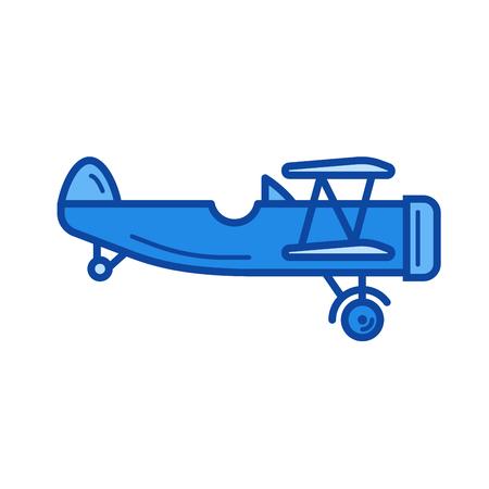 Sztuka wektor linii płaskich ikona na białym tle. Vintage linia samolot ikona infografika, strony internetowej lub aplikacji. Niebieska ikona zaprojektowana na siatce.