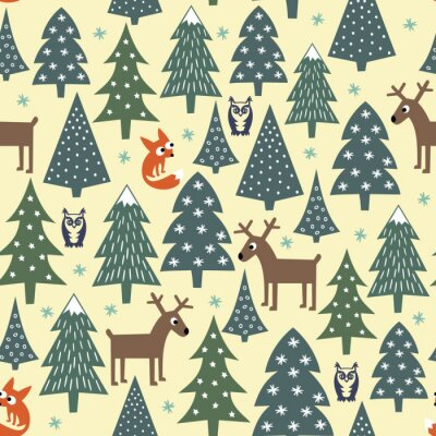 Naklejka Szwu Boże Narodzenie - zróżnicowane Xmas drzewa, domy, lisy, sowy i jelenie. Happy New Year background. wektor wzoru na ferie zimowe. Dziecko styl rysowania przyroda las ilustracji.
