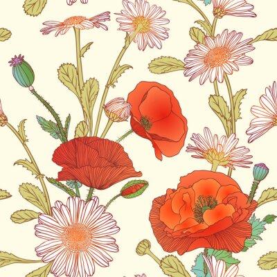 Naklejka Szwu - Rumianek i kwiaty maku