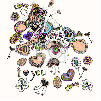 Szwu z jasnym kolorowym wizerunkiem ikony z hear