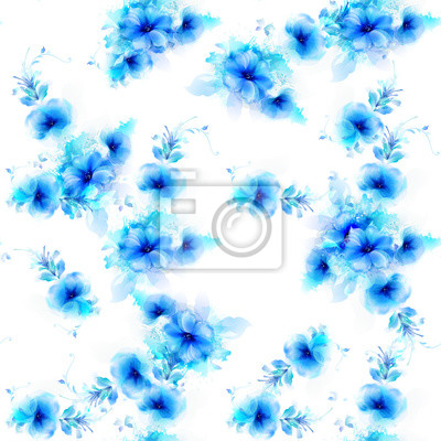 Szwu z niebieskimi kwiatami i abstrakcyjnych elementów dekoracyjnych na białym tle.
