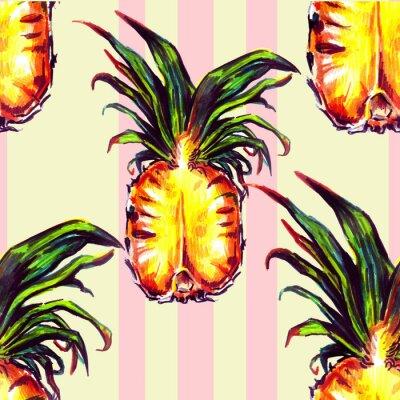 Naklejka Szwu z roślin tropikalnych i owoców