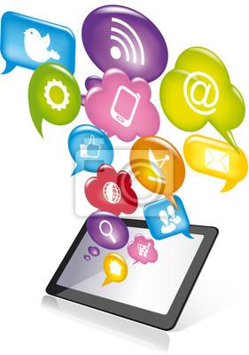 Naklejka Tablet social media