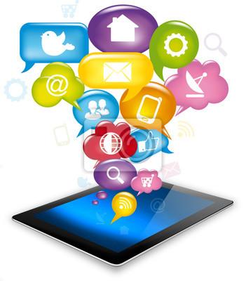 Naklejka Tablet social media, App