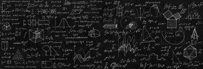 Naklejka Tablica wpisana w formuły naukowe i obliczenia z fizyki i matematyki.