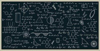Naklejka Tablica z matematyki i nauki, pisząc na tablicy.
