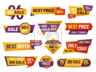 Naklejka Tagi sprzedaży detalicznej. Niska cena ulotki, najlepsza oferta cenowa i duża cena sprzedaży znaczek znaczek projekt na białym tle wektor zbiory