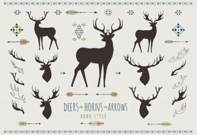 Naklejka Tamtejsze Antlers. Zestaw sylwetki rustykalnych wzorów poroża