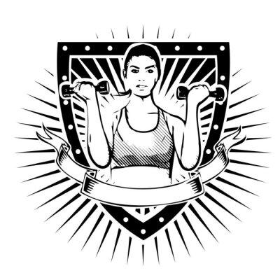 Naklejka Tarcza kobieta fitness